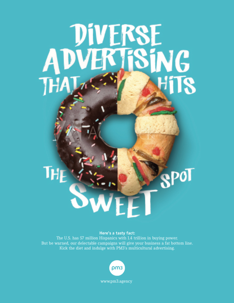 magazine ad with donut half chocolate with coloured sparkles and half a screw with assorted sweets ad agency self promotion