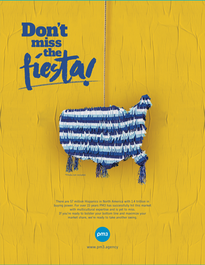 magazine ad that shows a piñata in the form of united states map ad agency self promotion
