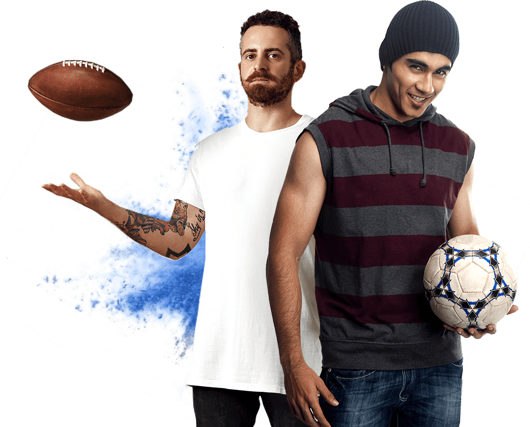 american with a football ball and hispanic with a soccer ball multicultural translation services pm3 agency