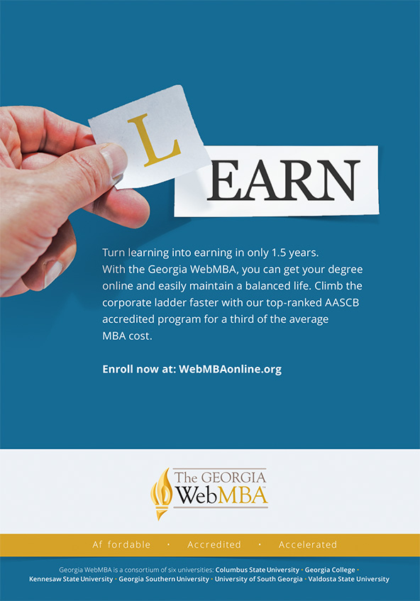 Turn Learning into Earning Georgia WebMba education print ad