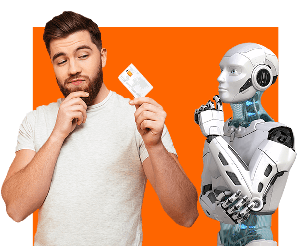 man using a credit card to do online shopping with ai help