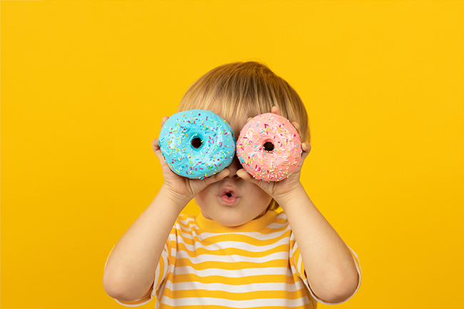 new regulations that put brands to adopt a moral responsibility, a baby that watches out with donuts as they would be binoculars