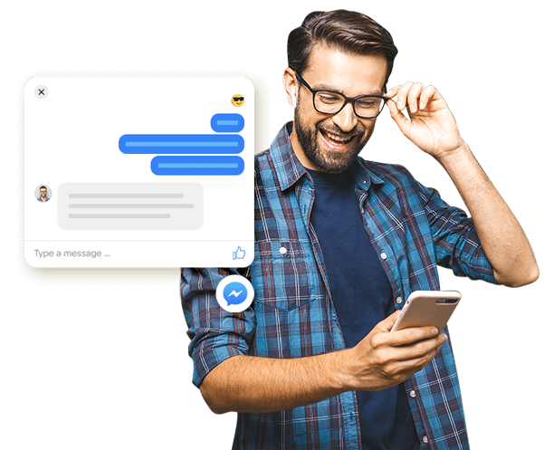 man chatting by facebook messenger digital advertising news pm3 agency