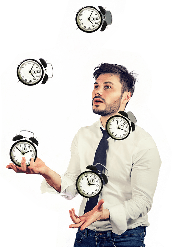 man juggling alarm clocks for productive meetings