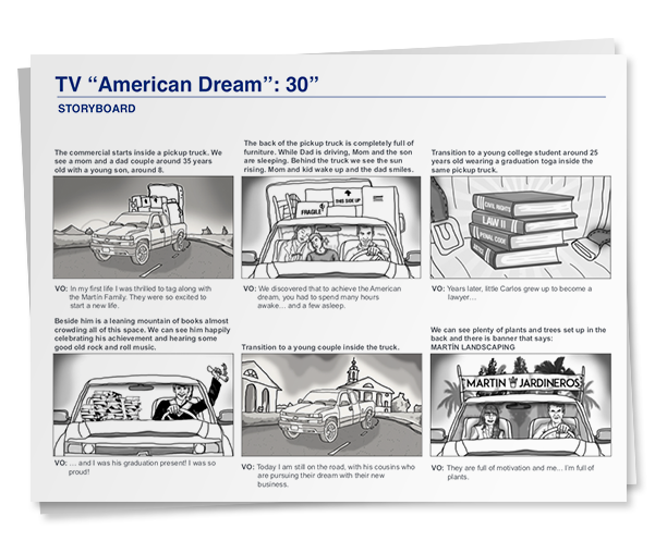story board hispanic tv commercial pm3 agency