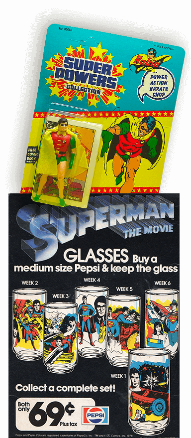 super powers collection kenner robin and superman the movie promo pepsi 1978 history of comic books