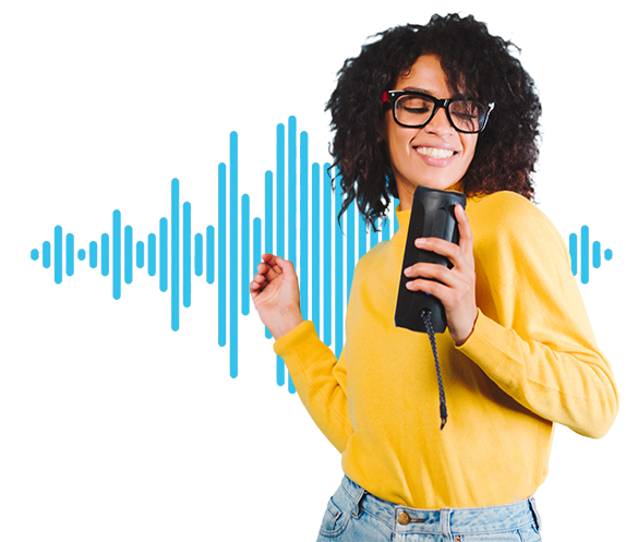 girl ask to voice assitant for making voice search